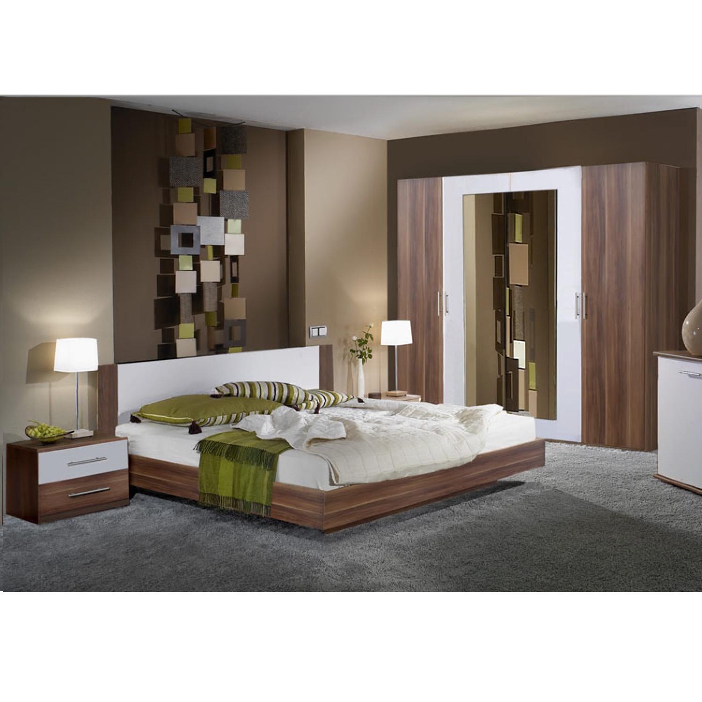 Schlafzimmerset Tinius (4-teilig) - Nussbaum Dekor/Weiß - Set mit ...