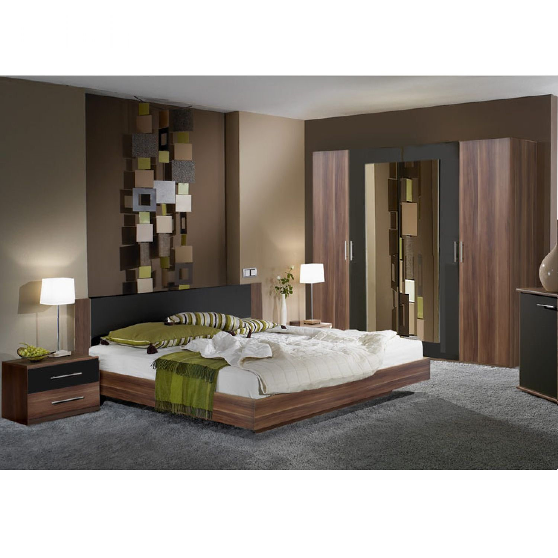 Schlafzimmerset Tinius (4-teilig) - Nussbaum/Schwarz - Set mit Bett ...