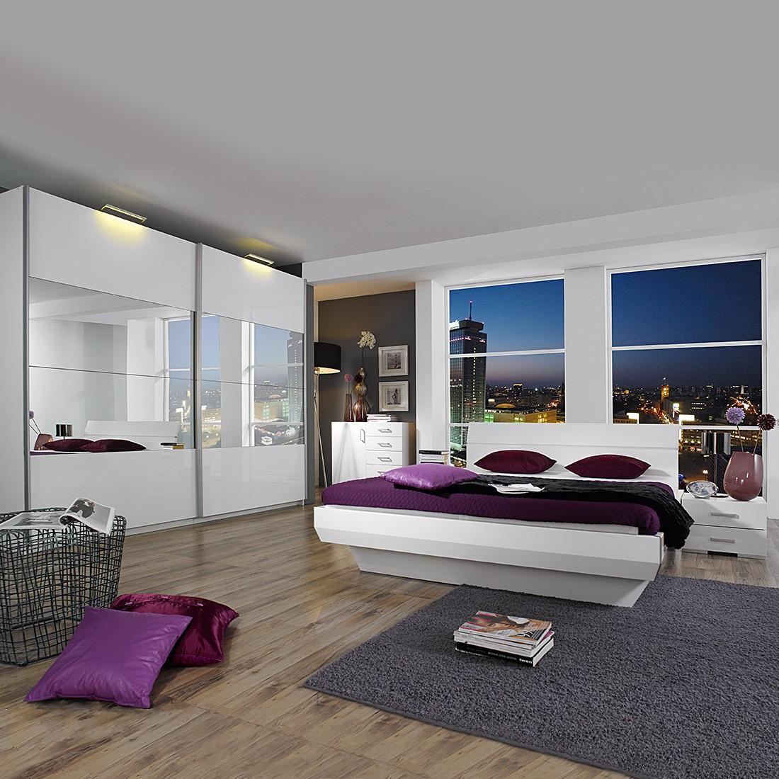 Komplettset Tira – Alpinweiß/Hochglanz Weiß/Spiegel – Liegefläche Bett: 140 x 200cm, Rauch Select online kaufen