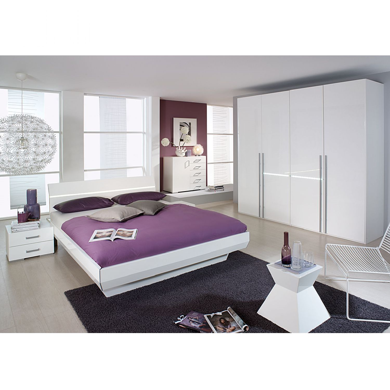 Komplettset Tira (4-teilig) - Alpinweiß/Hochglanz Weiß - Mit LED-Beleuchtung - Liegefläche Bett: 160 x 200cm, Rauch Select