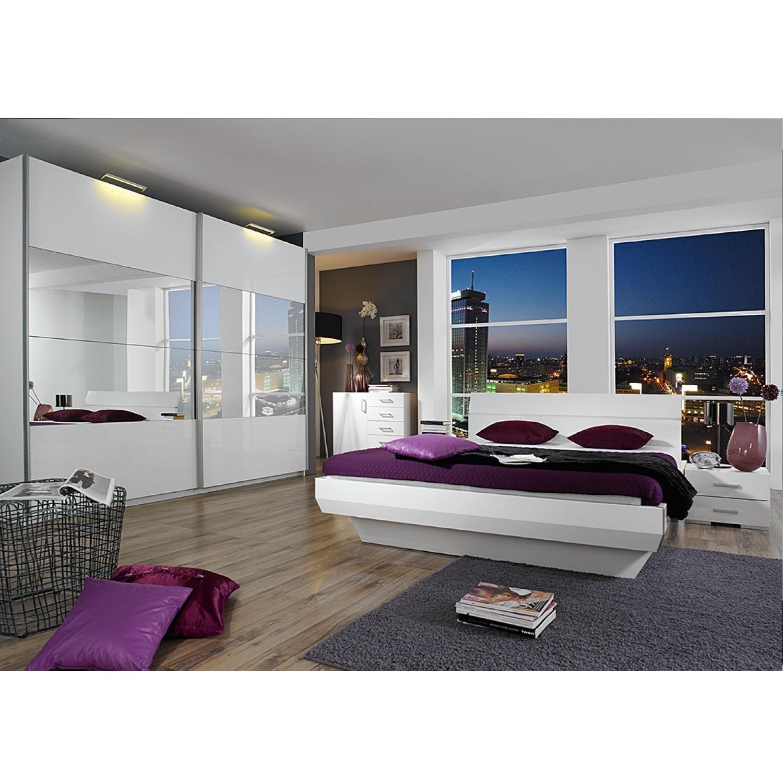 Komplettset Tira (4-teilig) - Alpinweiß/Hochglanz Weiß/Spiegel - Liegefläche Bett: 180 x 200cm, Rauch Select