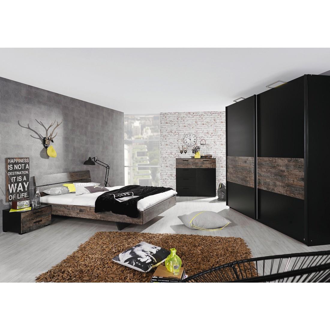 Schlafzimmerset Sumatra I - Schwarz / Vintage Braun - Liegefläche Bett: 140 x 200cm, Rauch Select