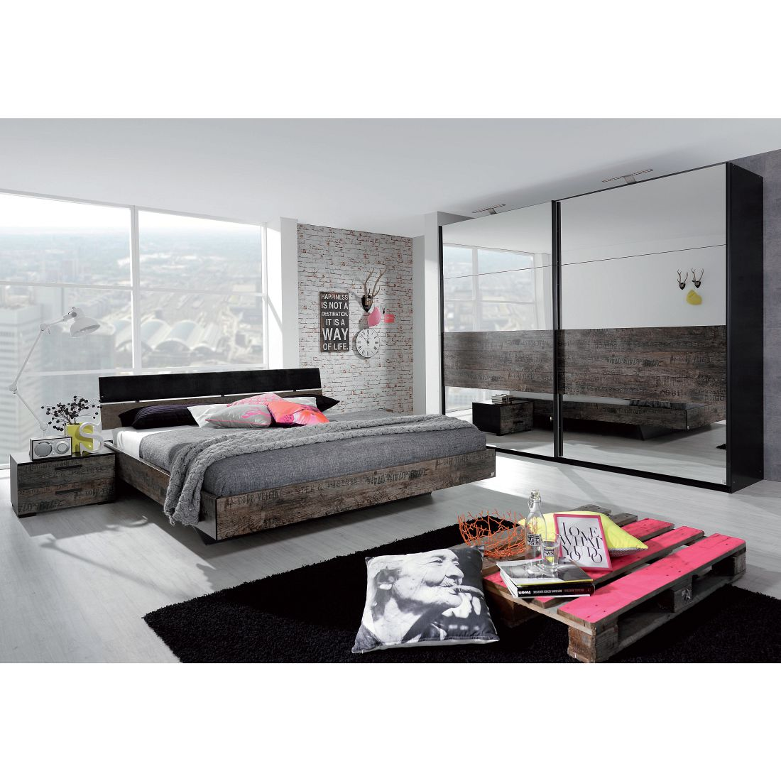 Schlafzimmerset Sumatra II (4teilig) - Vintage Braun - Liegefläche Bett: 160 x 200cm, Rauch Select
