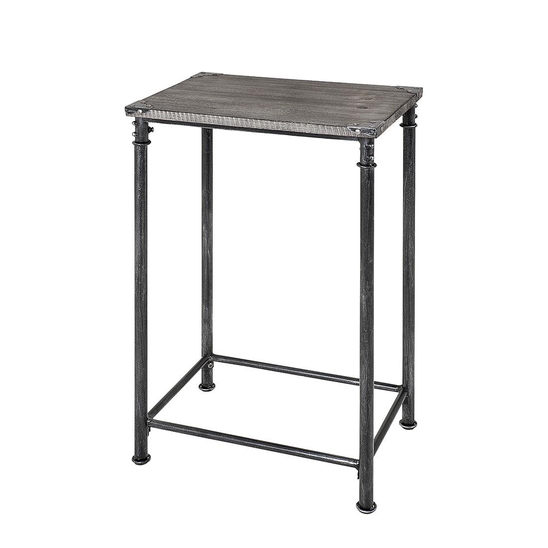 Bijzettafel Doubs IV - staal/massief hout - antiek/zwart/gekalkt grijs, furnlab