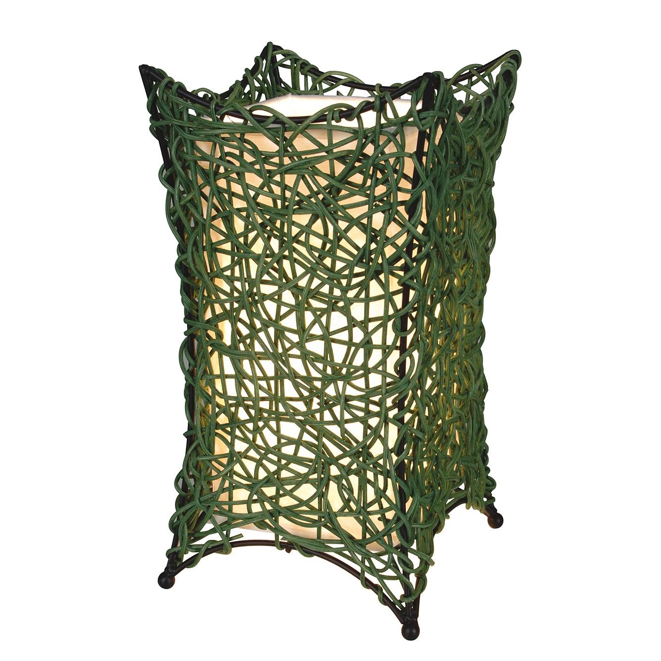 Korb-Tischleuchte Hurly-Burly Grün ● Geflecht ● 1-flammig- Näve A++