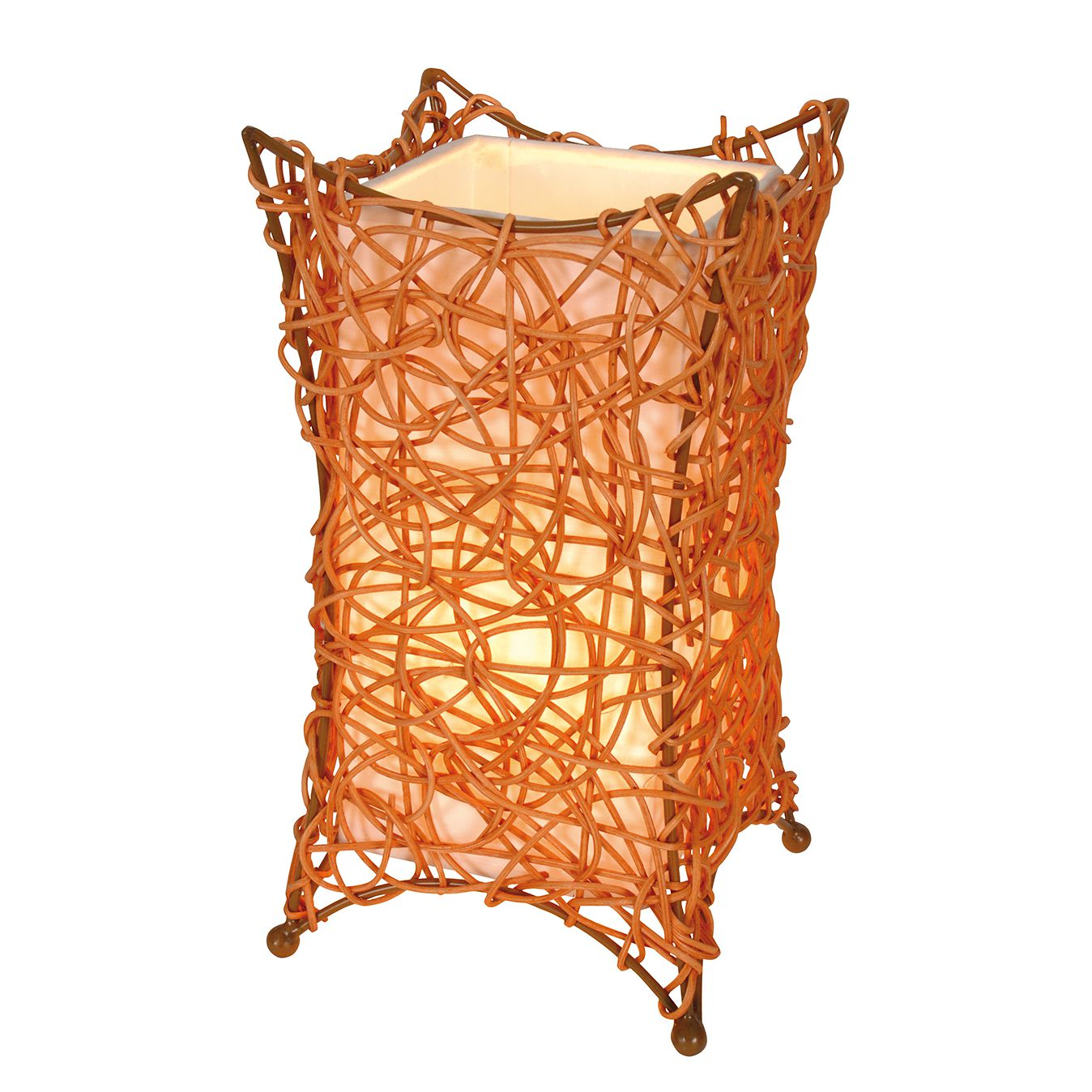 EEK A++, Korb-Tischleuchte Hurly-Burly Orange - Geflecht - 1-flammig, Näve