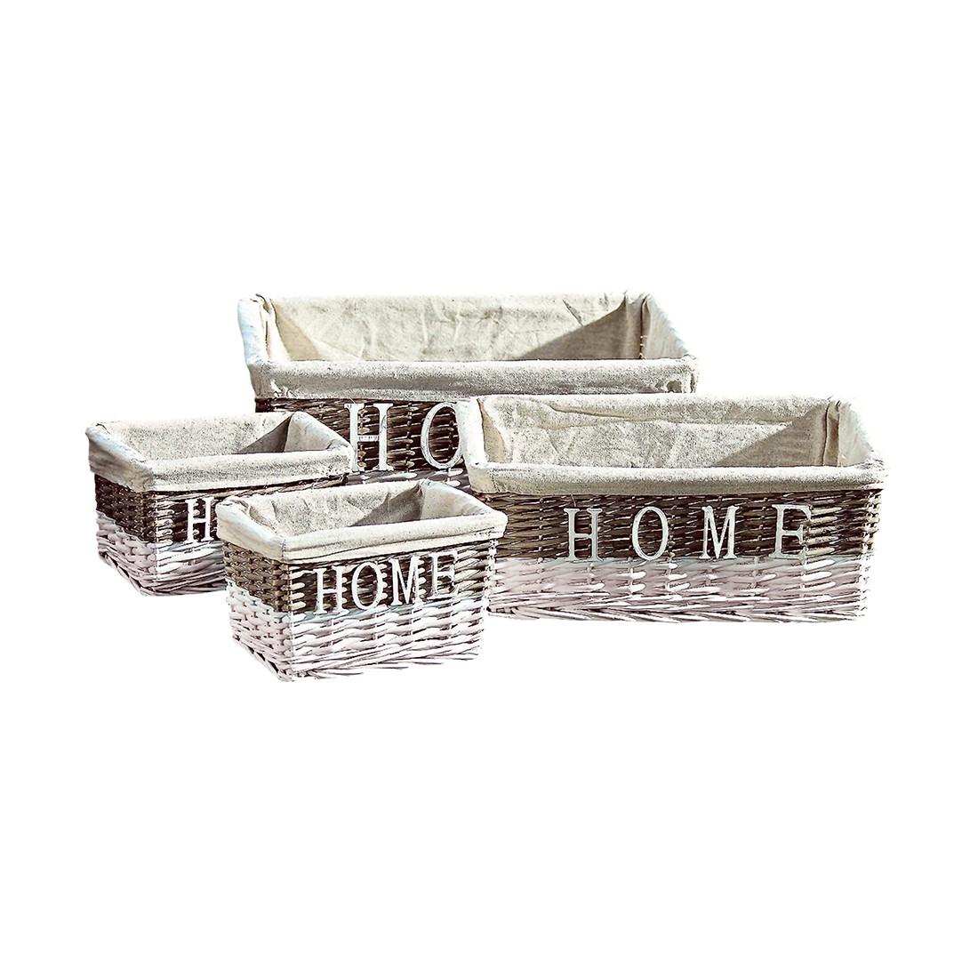 Korbset Home – Weide Braun / Weiß – 26 cm 20 cm 15 cm, Boltze günstig kaufen
