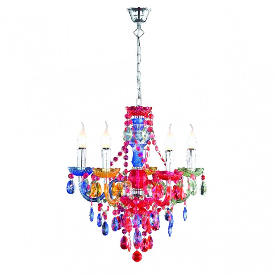 Kronleuchter Acryl Tarent - 5-flammig - Multicolor, Mendler
