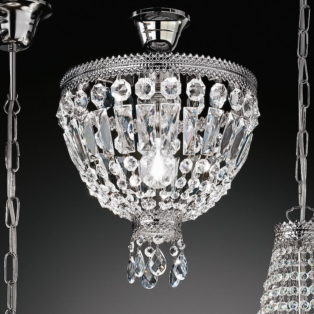 Kronleuchter Cupola Nickel ● Metall/Glas ● Nickel ● 1-flammig- Hans Kögl A+