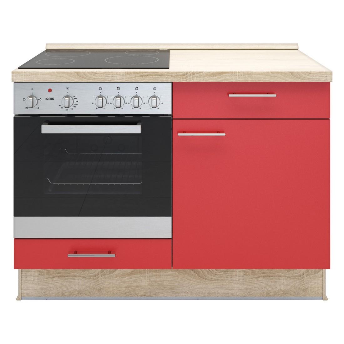 Küchenmodul Basic – mit Glaskeramik Kochfeld und Backofen – Rot – Ausrichtung Links, Kiveda jetzt kaufen