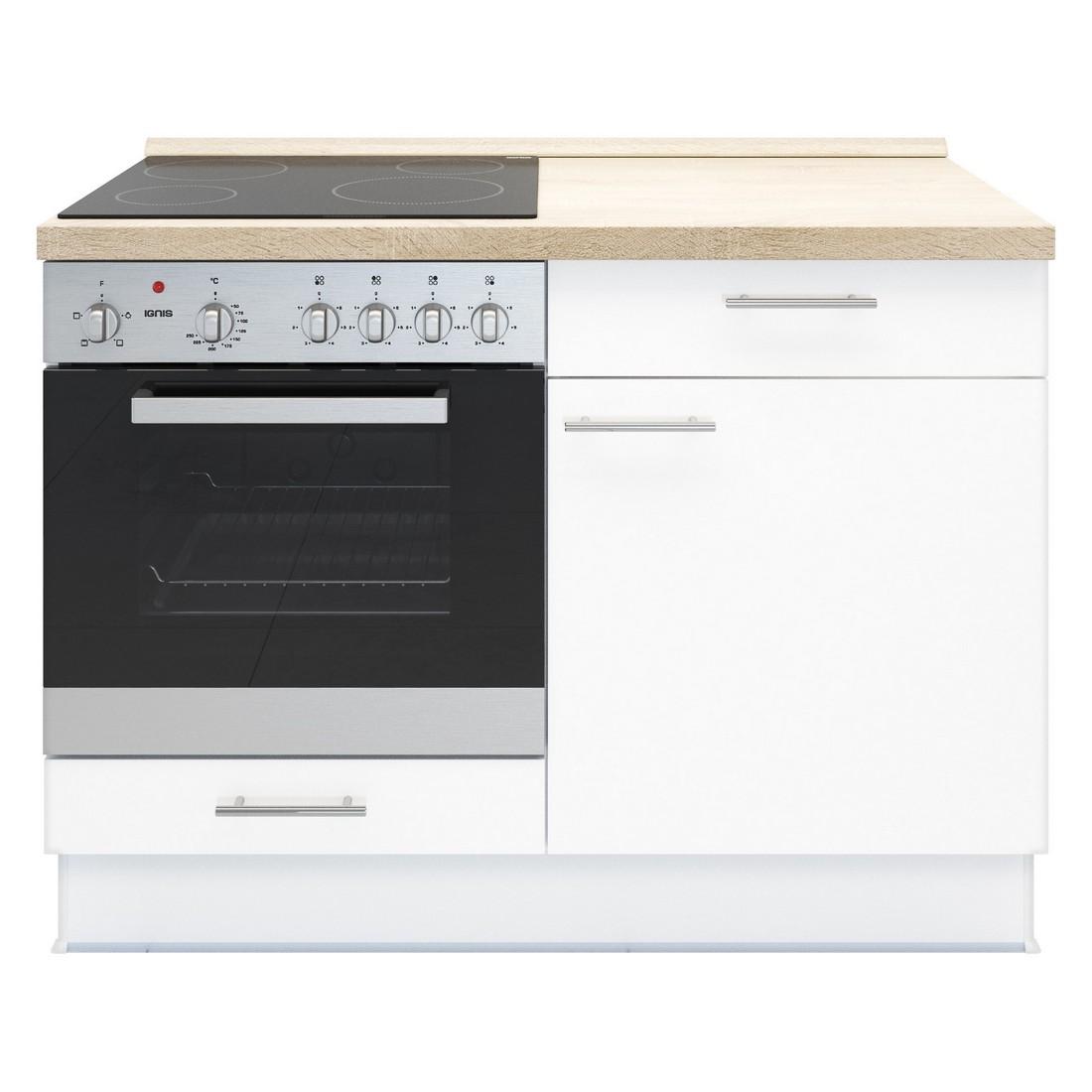 Küchenmodul Basic – mit Glaskeramik Kochfeld und Backofen – Weiß – Ausrichtung Links, Kiveda günstig bestellen