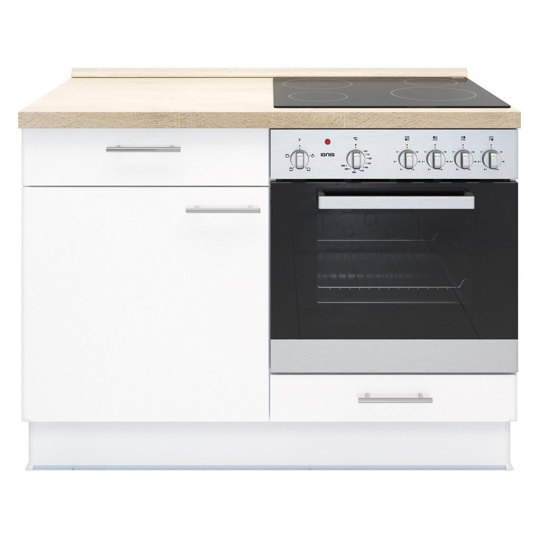 Küchenmodul Basic – mit Glaskeramik Kochfeld und Backofen – Weiß – Ausrichtung Rechts, Kiveda kaufen