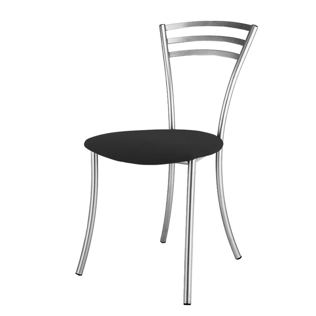 Küchenstuhl Vanny – Metall/Kunstleder – Verchromt/Schwarz, Homedreams günstig bestellen