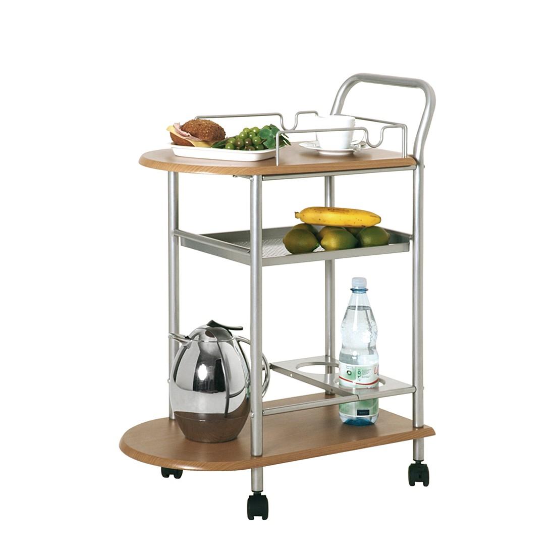 Küchenwagen Gunda – Stahl/Spanplatte – Alufarben/Buche Dekor, Tollhaus günstig