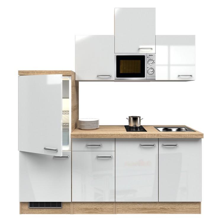 Küchenzeile Cooper – Einbaugeräte – Spüle – 210 cm – Hochglanz Weiß – Eiche Sonoma Dekor, Modus Küchen jetzt bestellen