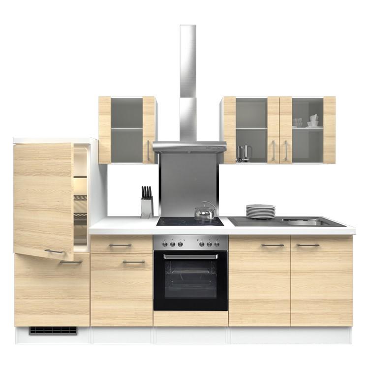 Küchenzeile Freda – Einbaugeräte – Spüle – 270 cm – Akazien Dekor – Weiß / Weiß, Modus Küchen online bestellen