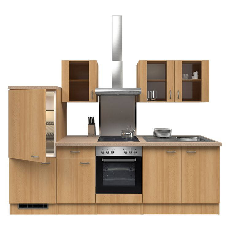 Küchenzeile Freda – Einbaugeräte – Spüle – 270 cm – Buche Dekor – Buche Dekor, Modus Küchen günstig bestellen