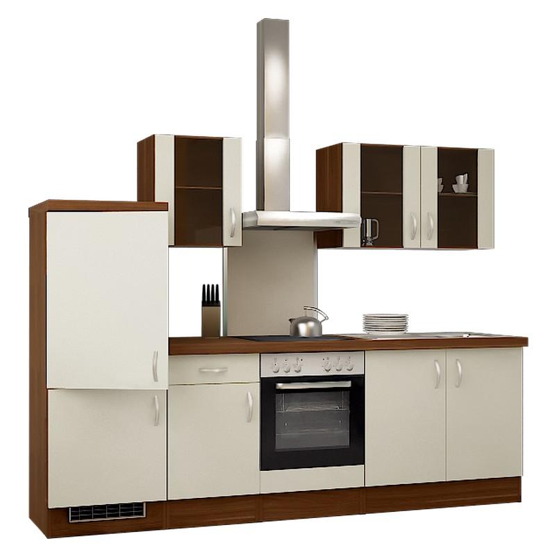 Küchenzeile Freda – Einbaugeräte – Spüle – 270 cm – Creme – Pflaume, Modus Küchen günstig bestellen