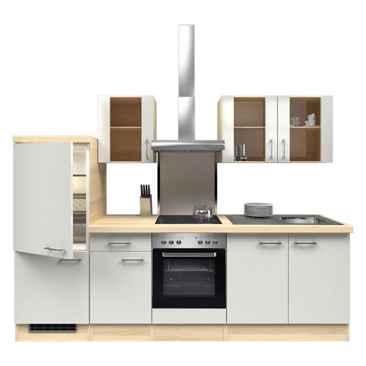 Küchenzeile Freda – Einbaugeräte – Spüle – 270 cm – Perlglanz Softwhite – Akazien Dekor, Modus Küchen online kaufen
