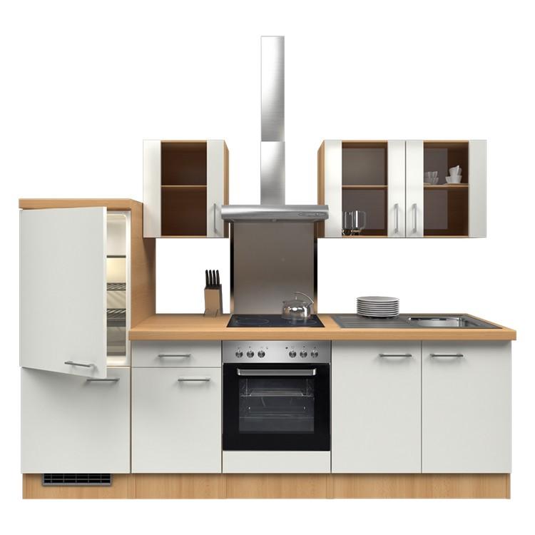 Küchenzeile Freda – Einbaugeräte – Spüle – 270 cm – Perlglanz Softwhite – Buche Dekor, Modus Küchen günstig online kaufen
