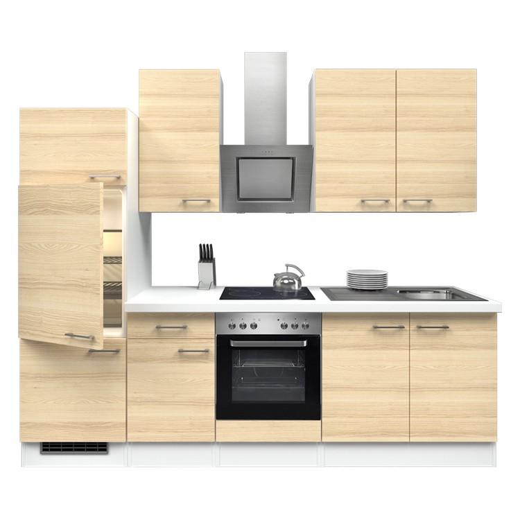 Küchenzeile Ida – Einbaugeräte – Spüle – 270 cm – Akazien Dekor – Weiß / Weiß, Modus Küchen kaufen