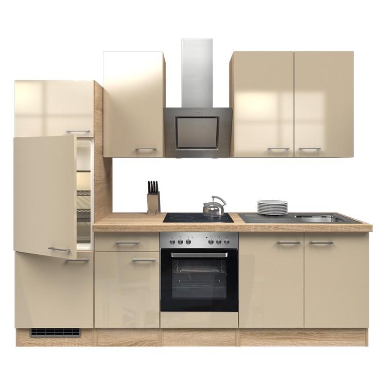 Küchenzeile Ida – Einbaugeräte – Spüle – 270 cm – Kaschmir – Eiche Sonoma Dekor, Modus Küchen kaufen