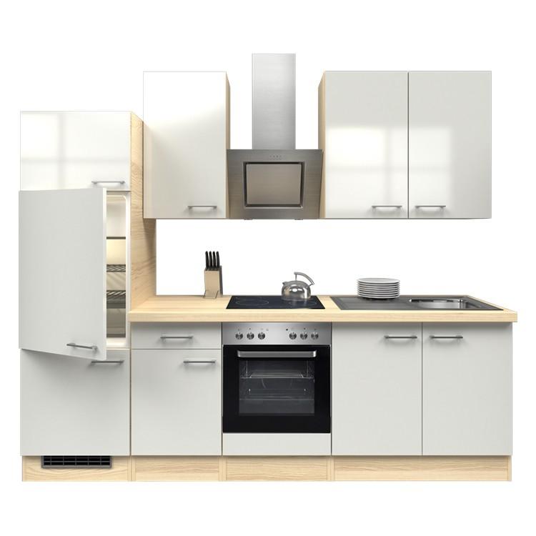 Küchenzeile Ida – Einbaugeräte – Spüle – 270 cm – Perlglanz Softwhite – Akazien Dekor, Modus Küchen jetzt kaufen