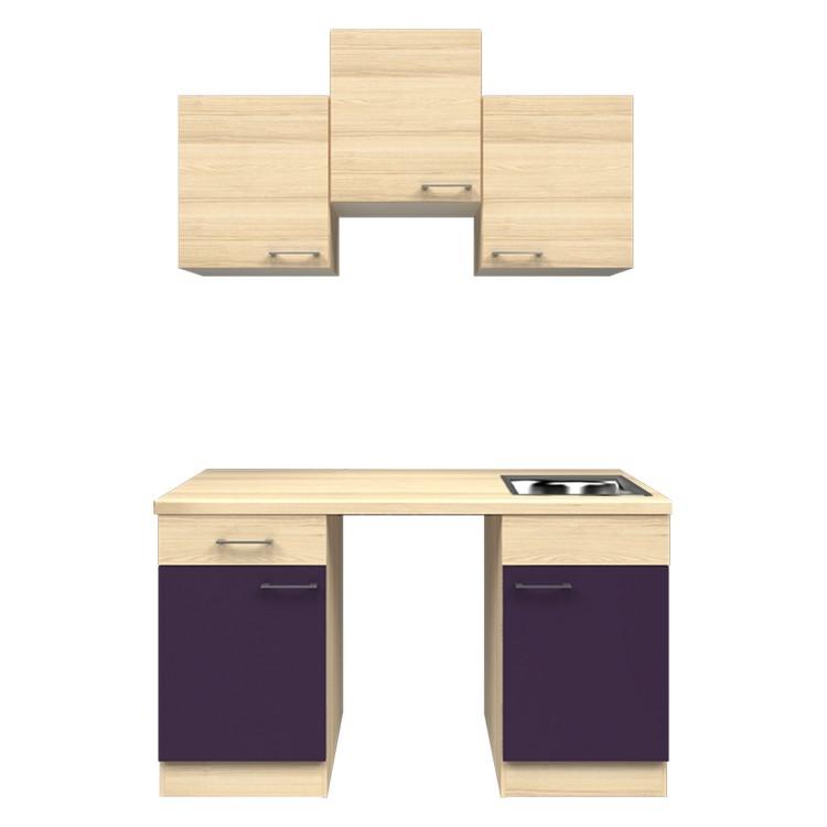 Küchenzeile Ivy – Leerblock – 150 cm – Aubergine – Akazien Dekor, Modus Küchen online bestellen