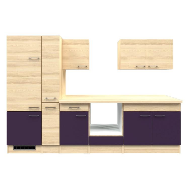 Küchenzeile Jana – Leerblock – 300 cm – Aubergine – Akazien Dekor, Modus Küchen online bestellen