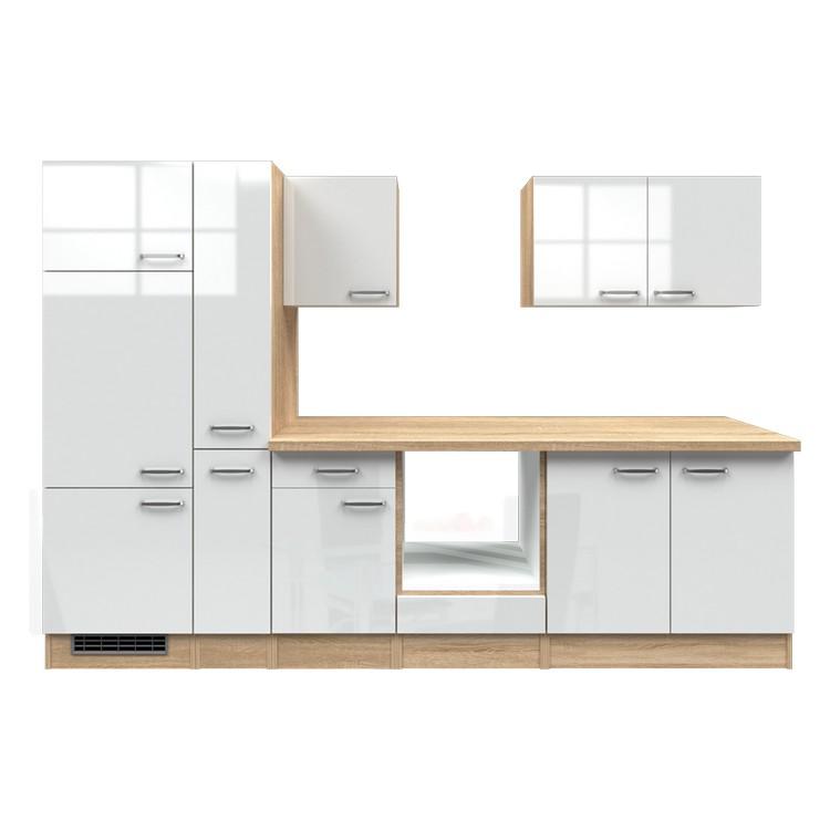 Küchenzeile Jana – Leerblock – 300 cm – Hochglanz Weiß – Eiche Sonoma Dekor, Modus Küchen günstig bestellen