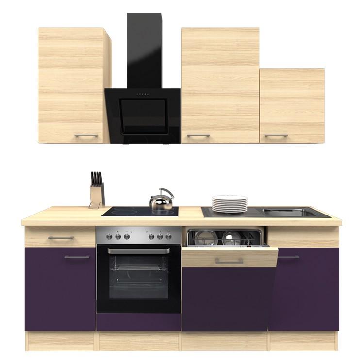 Küchenzeile Jerry – Einbaugeräte – Spüle – 220 cm – Aubergine – Akazien Dekor, Modus Küchen günstig bestellen