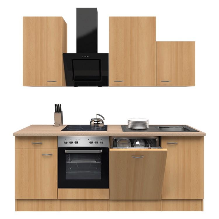 Küchenzeile Jerry – Einbaugeräte – Spüle – 220 cm – Buche Dekor – Buche Dekor, Modus Küchen günstig online kaufen