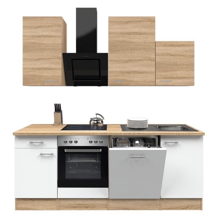 Küchenzeile Jerry – Einbaugeräte – Spüle – 220 cm – Eiche Sonoma Dekor / Weiß – Eiche Sonoma Dekor, Modus Küchen günstig