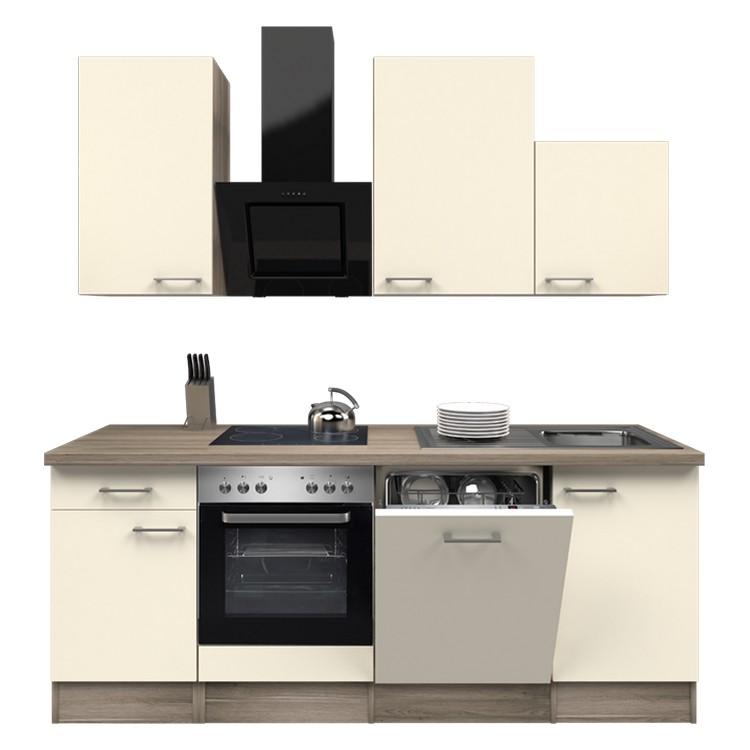 Küchenzeile Jerry – Einbaugeräte – Spüle – 220 cm – Magnolienweiß – Eiche Dekor, Modus Küchen günstig kaufen