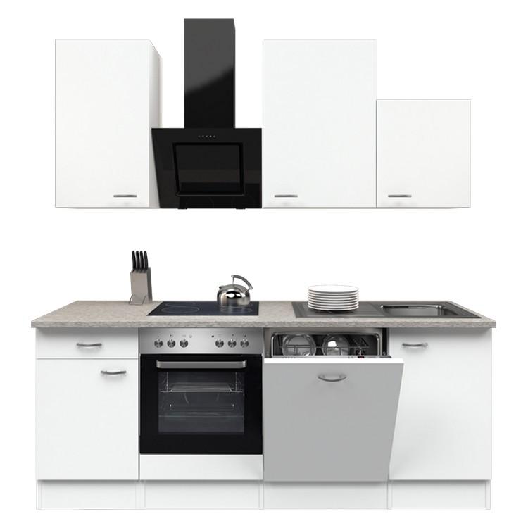 Küchenzeile Jerry – Einbaugeräte – Spüle – 220 cm – Weiß / Weiß – Weiß / Weiß, Modus Küchen günstig