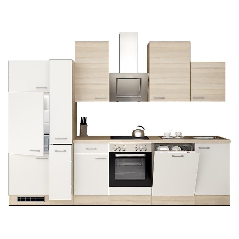 Küchenzeile Lasse – Einbaugeräte – Spüle – 310 cm – Eiche Sonoma Dekor / Weiß – Eiche Sonoma Dekor, Modus Küchen günstig