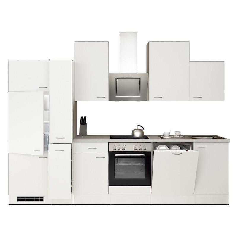 Küchenzeile Lasse – Einbaugeräte – Spüle – 310 cm – Weiß / Weiß – Weiß / Weiß, Modus Küchen jetzt bestellen