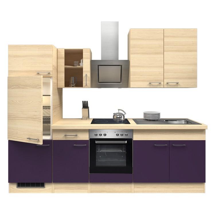 Küchenzeile Laura – Einbaugeräte – Spüle – 270 cm – Aubergine – Akazien Dekor, Modus Küchen günstig