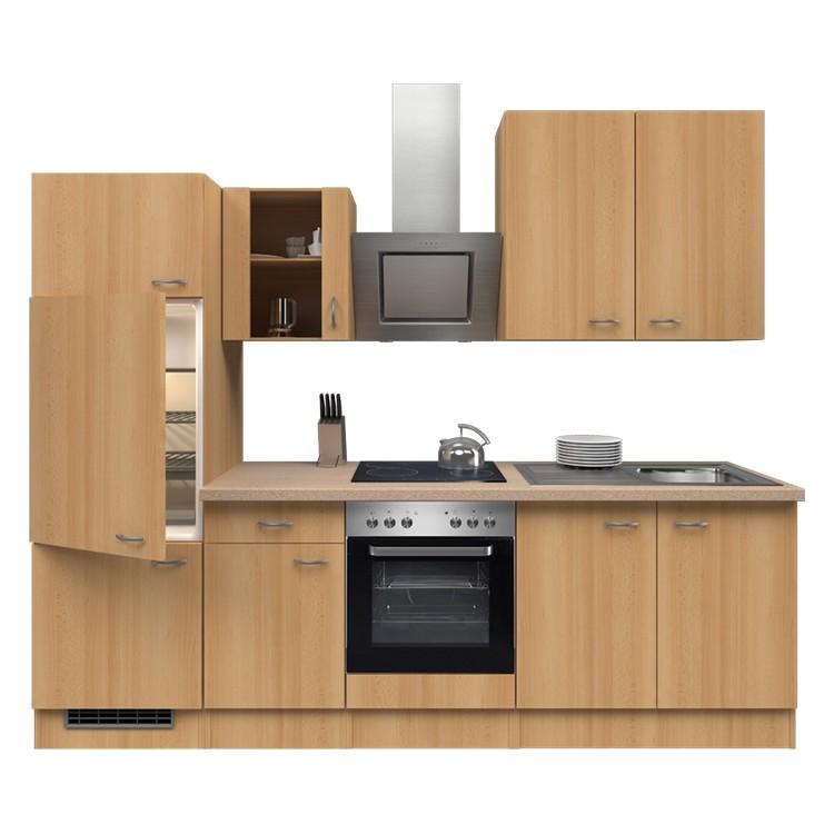 Küchenzeile Laura – Einbaugeräte – Spüle – 270 cm – Buche Dekor – Buche Dekor, Modus Küchen günstig