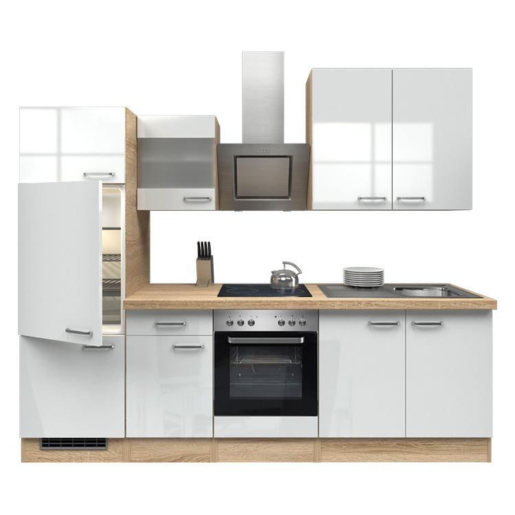 Küchenzeile Laura – Einbaugeräte – Spüle – 270 cm – Hochglanz Weiß – Eiche Sonoma Dekor, Modus Küchen jetzt kaufen