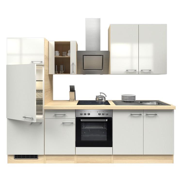 Küchenzeile Laura – Einbaugeräte – Spüle – 270 cm – Perlglanz Softwhite – Akazien Dekor, Modus Küchen günstig kaufen
