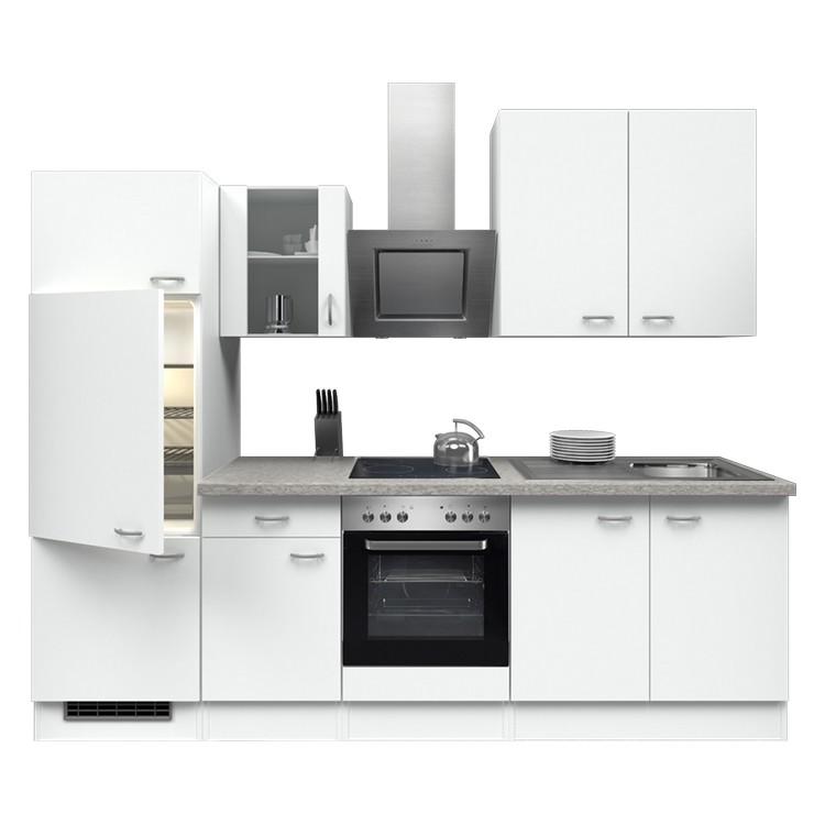 Küchenzeile Laura – Einbaugeräte – Spüle – 270 cm – Weiß / Weiß – Weiß / Weiß, Modus Küchen günstig bestellen