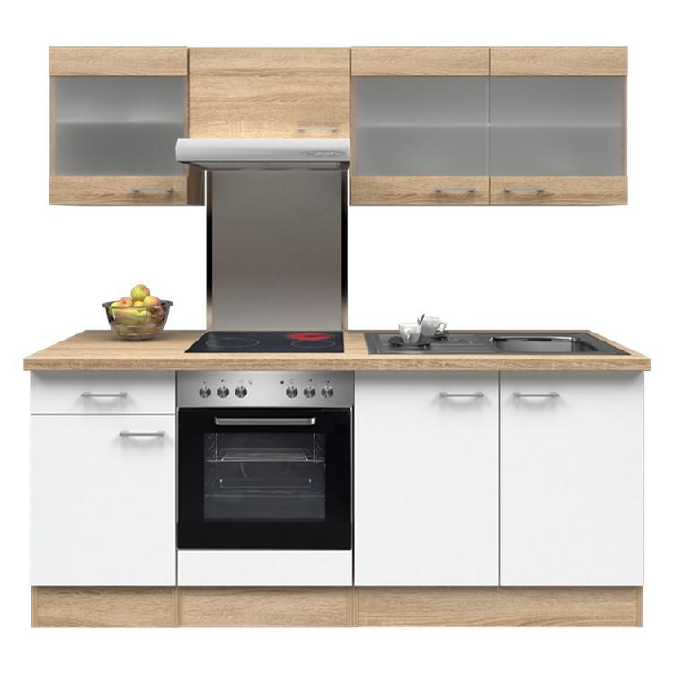 Küchenzeile Lena – Einbaugeräte – Spüle – 210 cm – Eiche Sonoma Dekor / Weiß – Eiche Sonoma Dekor, Modus Küchen jetzt bestellen