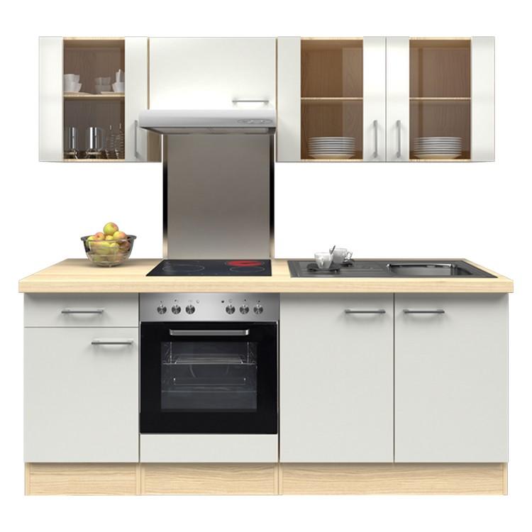 Küchenzeile Lena – Einbaugeräte – Spüle – 210 cm – Perlglanz Softwhite – Akazien Dekor, Modus Küchen jetzt bestellen