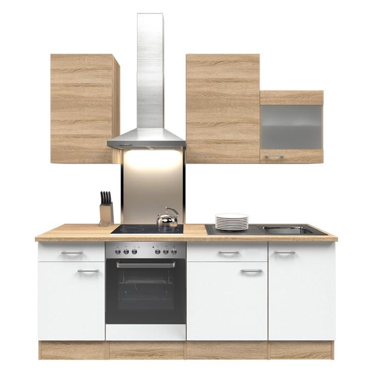 Küchenzeile Lena – Einbaugeräte – Spüle – 220 cm – Eiche Sonoma Dekor / Weiß – Eiche Sonoma Dekor, Modus Küchen kaufen