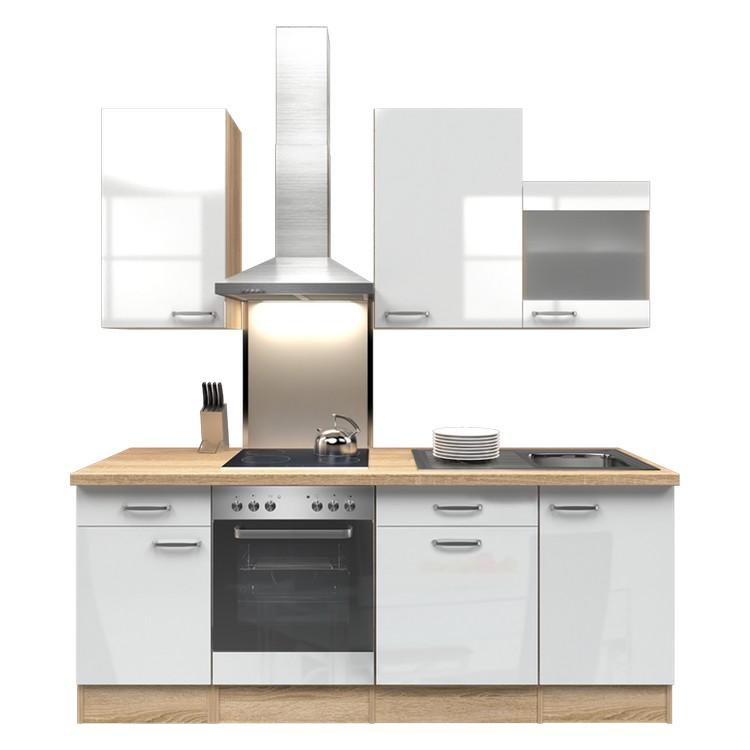 Küchenzeile Lena – Einbaugeräte – Spüle – 220 cm – Hochglanz Weiß – Eiche Sonoma Dekor, Modus Küchen online bestellen