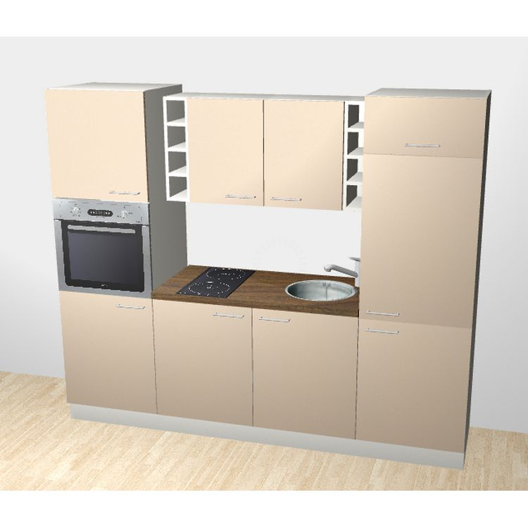 k chenzeile lennart 240 cm induktions kochfeld backofen edelstahlsp le armatur k hlschrank. Black Bedroom Furniture Sets. Home Design Ideas