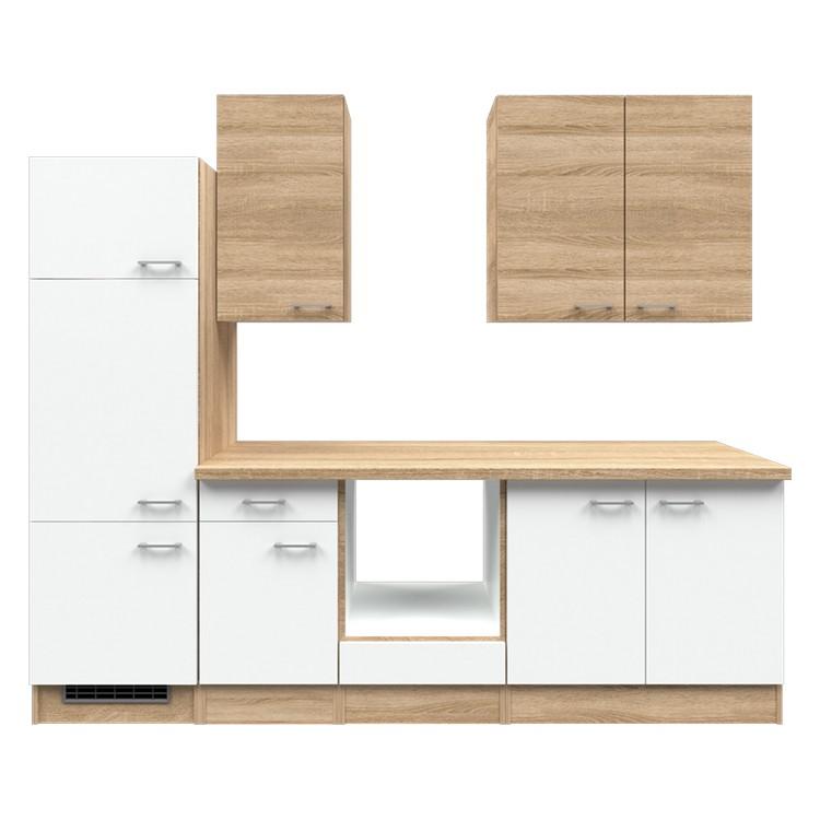 Küchenzeile Liv – Leerblock – 270 cm – Eiche Sonoma Dekor / Weiß – Eiche Sonoma Dekor, Modus Küchen günstig kaufen