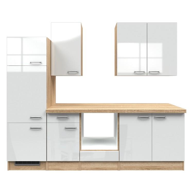 Küchenzeile Liv – Leerblock – 270 cm – Hochglanz Weiß – Eiche Sonoma Dekor, Modus Küchen günstig bestellen
