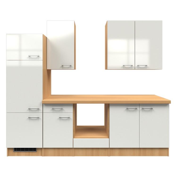 Küchenzeile Liv – Leerblock – 270 cm – Perlglanz Softwhite – Buche Dekor, Modus Küchen günstig